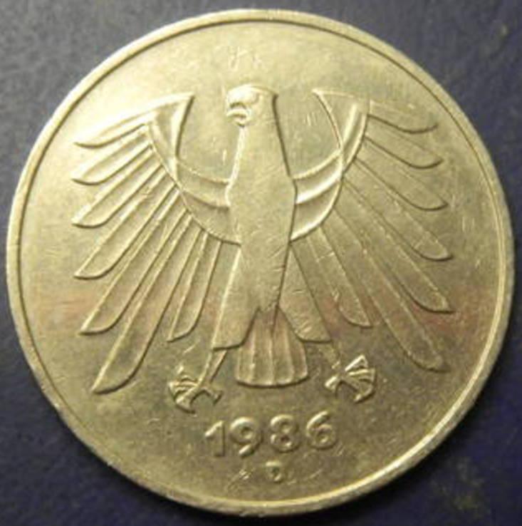 5 марок ФРН 1986 D, фото №3