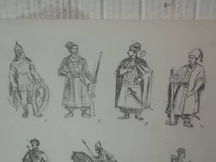 Карандашные рисунки казаки, разных исторических эпох, фото №3