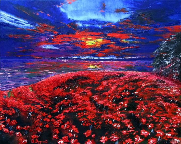 Возний В. Картина Море і маки. Олія полотно 40х50