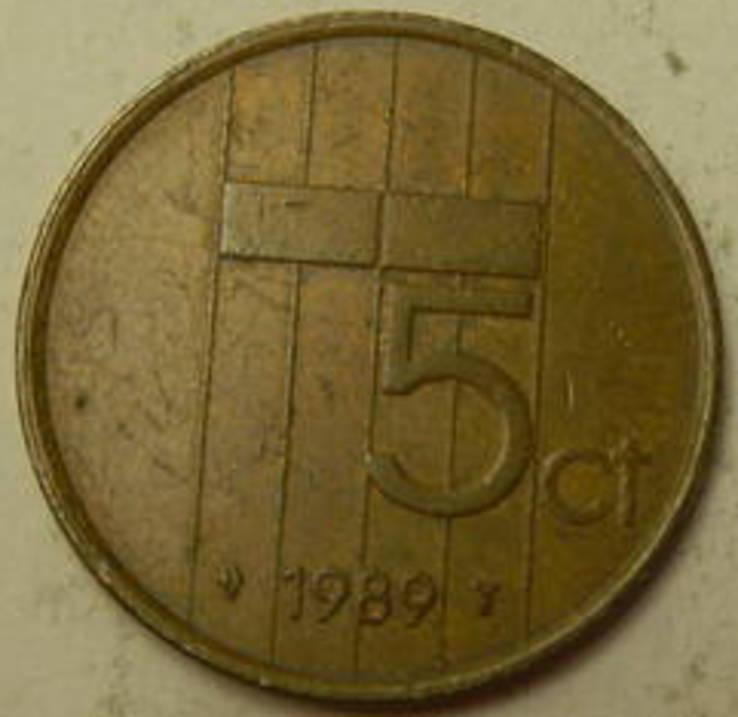 5 центів Нідерланди 1989, фото №2