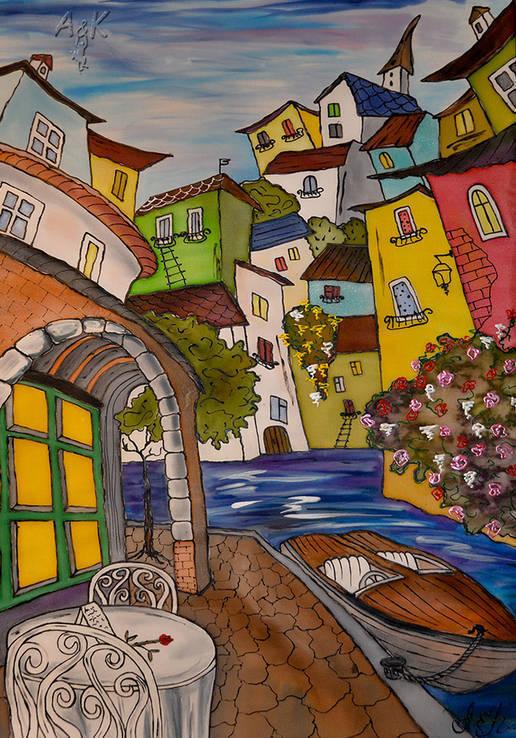 Картина батик Улицы Сан Ремо -3   45х65