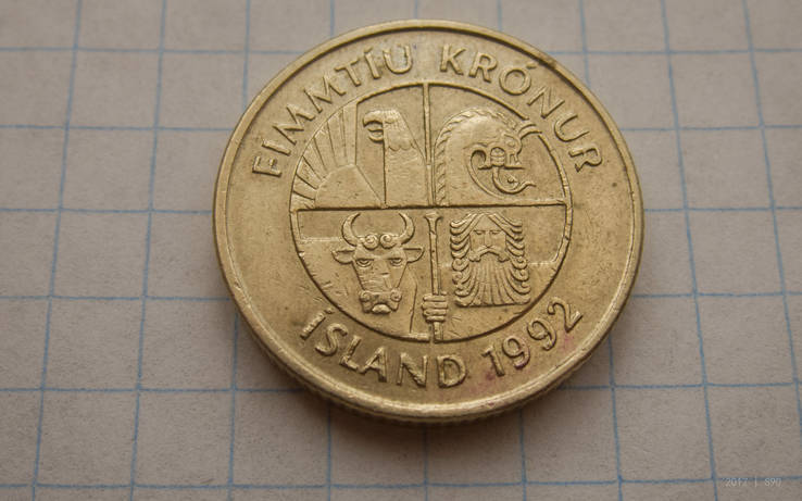 Исландия 50 крон 1992, фото №3