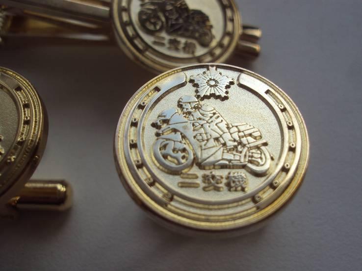 Серебряные запонки и зажим, дорожная патрульная полиция Японии., фото №3