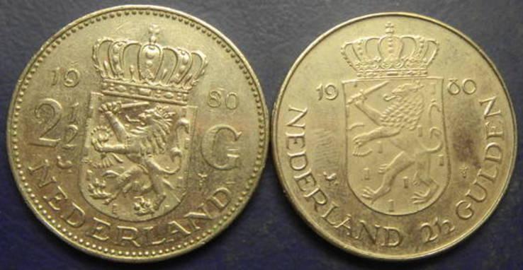 2 1/2 гульдена Нідерланди 1980 (два різновиди), фото №3
