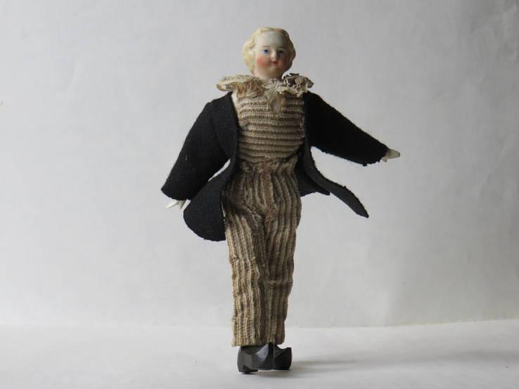 Старинная кукла пастушок в соломенной шляпе  с фарфоровой головой ., фото №11