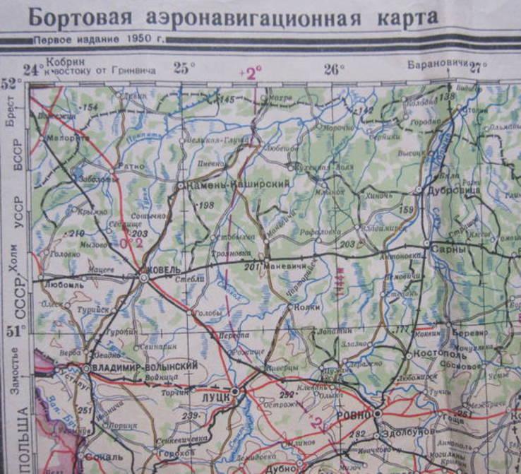 Бортовая аэронавигационная карта Киев 1950 года