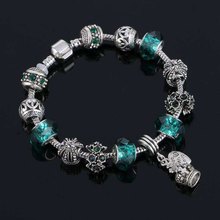 Европейский Стиль. посеребряный, Зеленый Кристалл, Стиль Pandora. №30