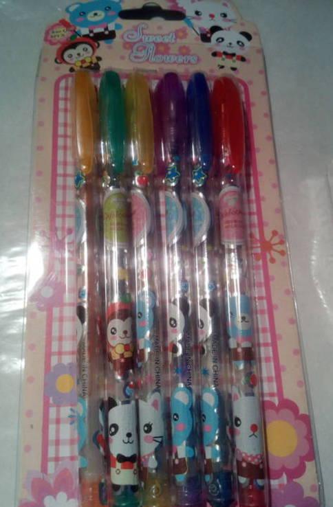 Ручки с блеском 6 шт