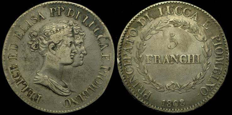 Лукка 5 франчи 1808