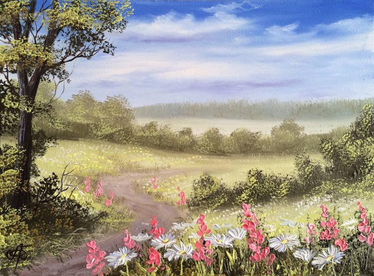 Картина Тропинка в лето, 30х40 см., живопись на холсте, маслом, оригинал, с подписью