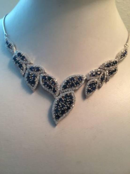 Ожерелье из натуральных темно-синих сапфиров, фото №2