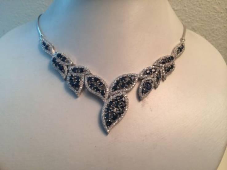 Ожерелье из натуральных темно-синих сапфиров, фото №3