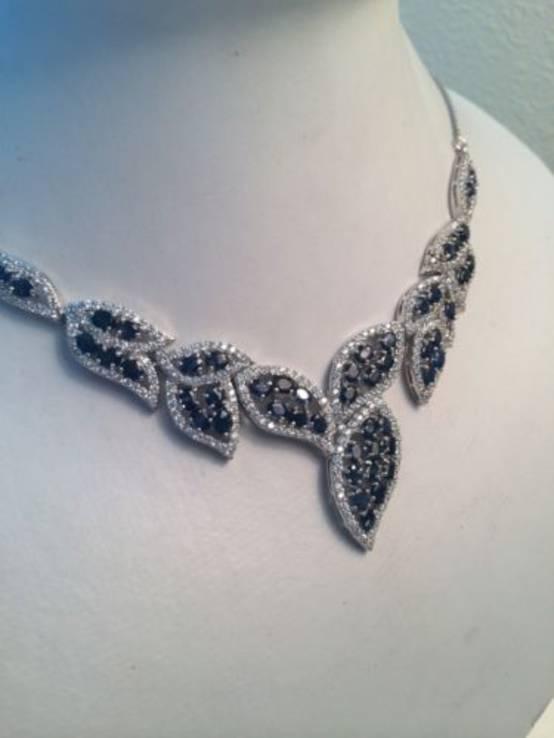 Ожерелье из натуральных темно-синих сапфиров, фото №4