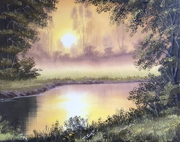 Картина Золотистый туман, 50х40 см. холст, масло, оригинал, с подписью автора