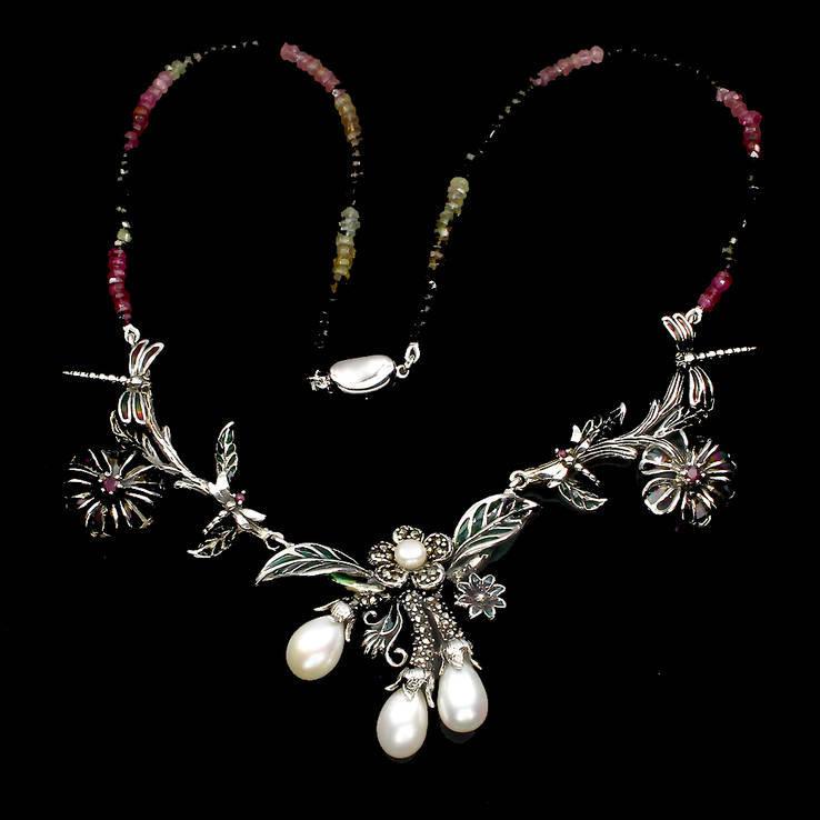 Ожерелье с натуральными цветными турмалинами и белым жемчугом, фото №4