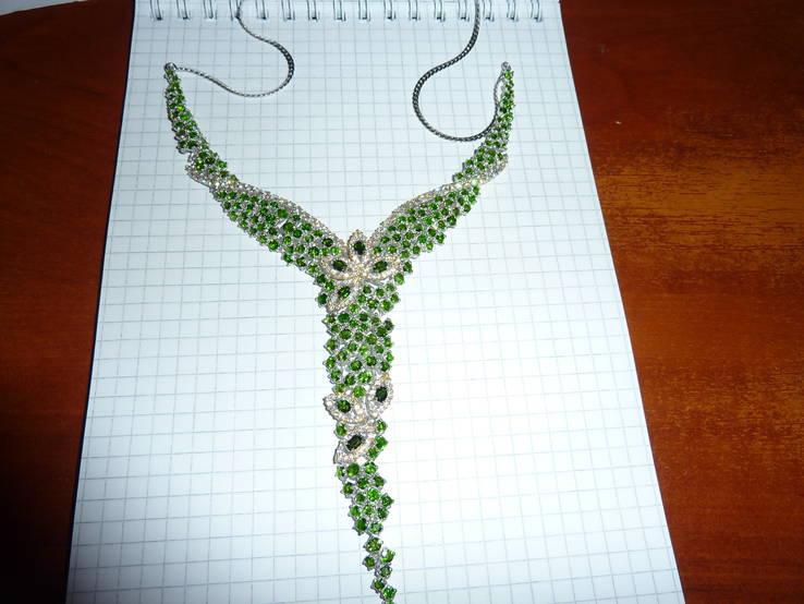 Ожерелье с натуральными хром диопсидами