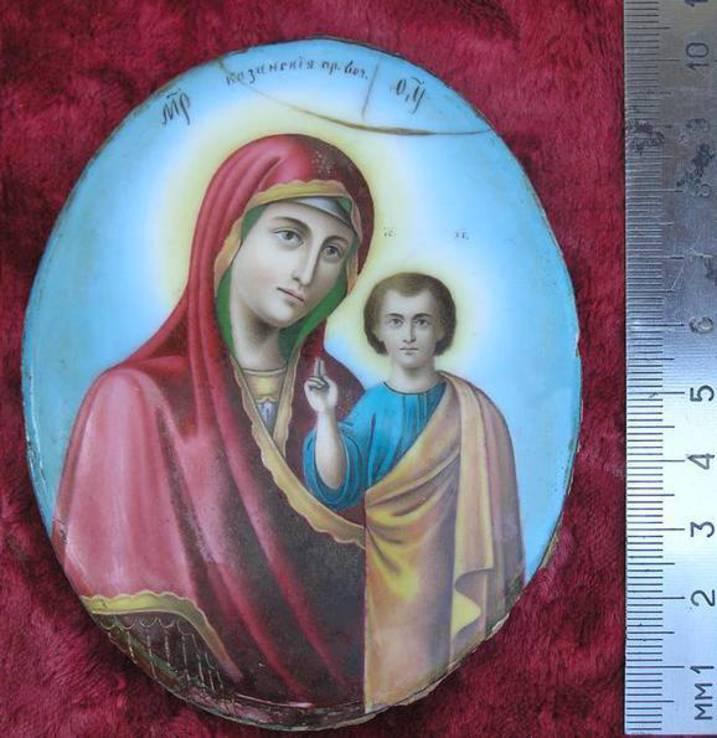 Икона Казанскiя пр.бог. финифть, фото №2
