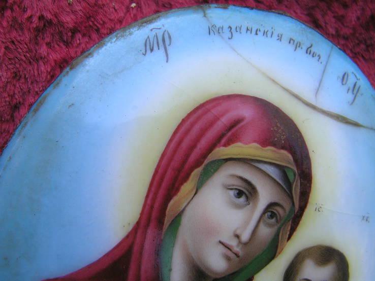Икона Казанскiя пр.бог. финифть, фото №6
