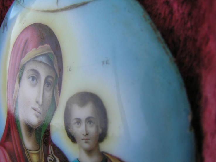 Икона Казанскiя пр.бог. финифть, фото №8