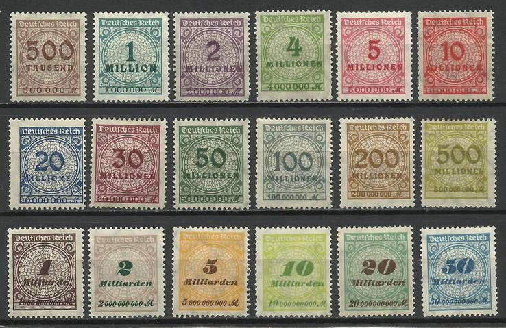 Германия 1923 г. Инфляция. Надпечатки. Полная серия. Негашеные с клеем и без. Наклейки