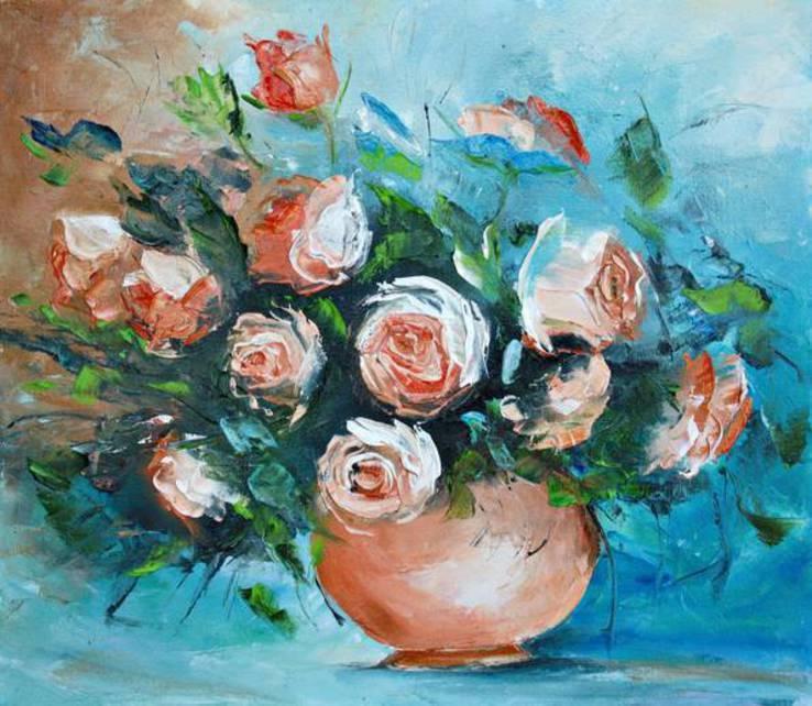 """Картина """"Натюрморт с розами""""  40х35.Ермолович Елена"""