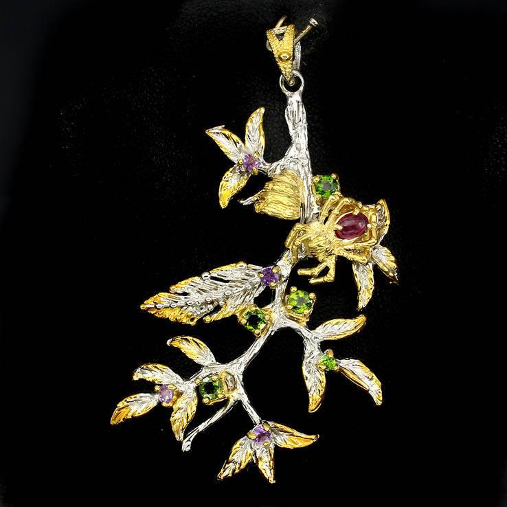 Ожерелье с натуральными гранатами цаворитами и бирманскими рубинами, фото №2