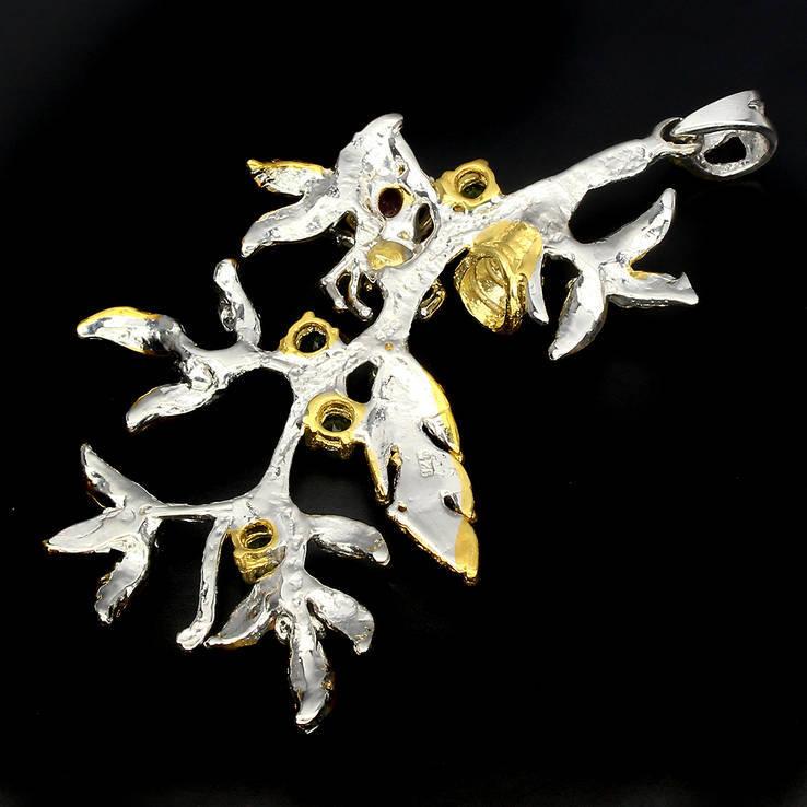 Ожерелье с натуральными гранатами цаворитами и бирманскими рубинами, фото №3