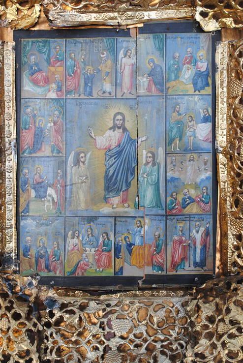 Икона Воскресение Христово, 12 праздников 80х72х19 см.