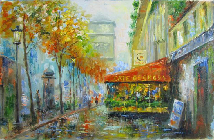 ,,Осень в Париже,, 40x61см .А.Горб