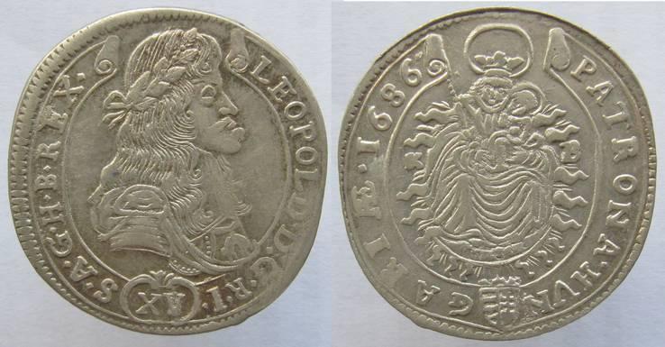 Венгрия Леопольд Габубург 15 крейцеров 1686