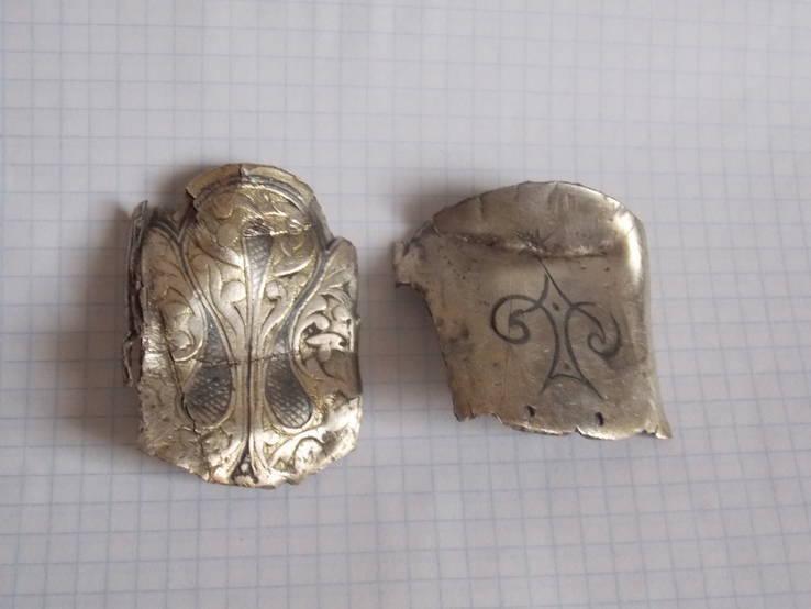 Серебряные накладки наборного пояса с чернением ( 38,48 грамм )