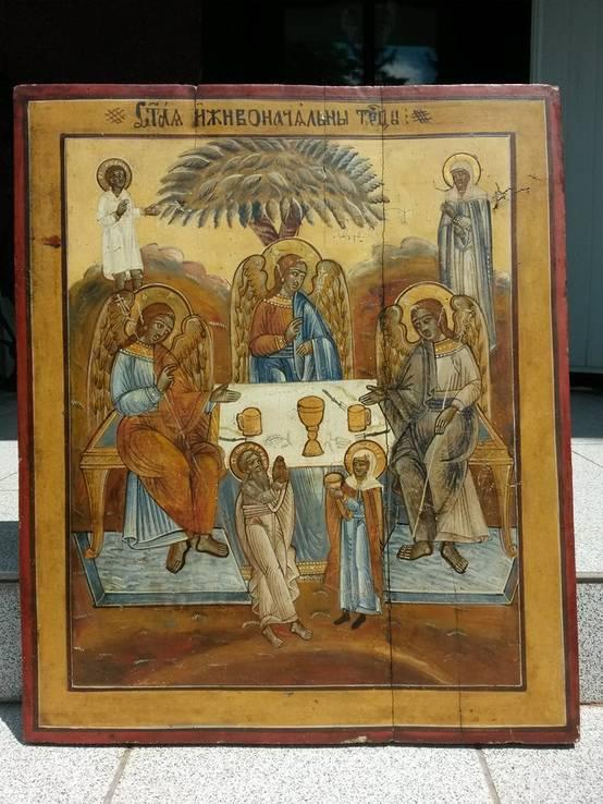 Большая старообрядческая икона св. Троица  58х49х3см (Не выкуп лота )