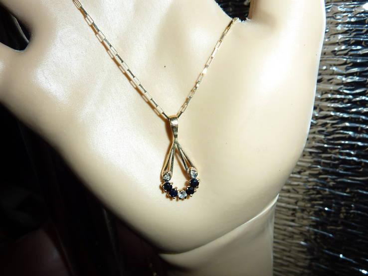 Золотое ожерелье с натуральными сапфирами и бриллиантами, фото №2