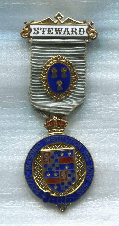 Серебро Эмаль Орден Масоны Королевский Институт для мальчиков STEWARD 1935 Великобритания