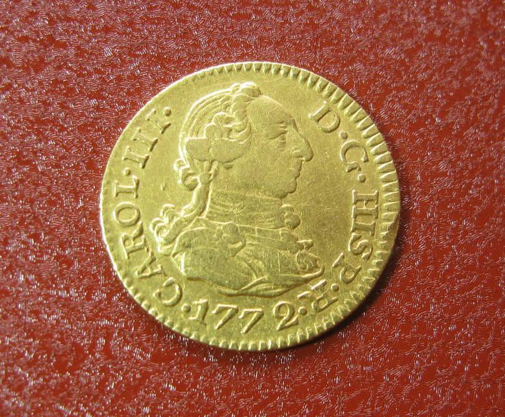 1/2 Эскудо. Испания. Мадрид, 1772 год. Карл III. Золото 900пр.