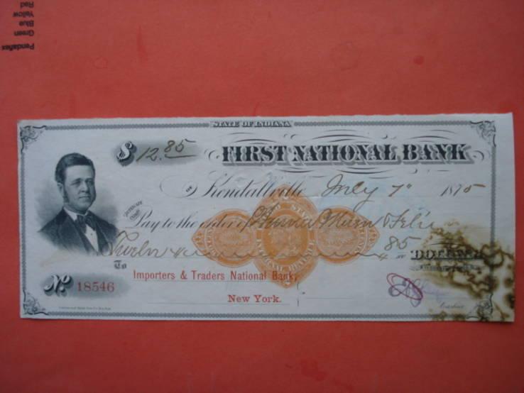 США чек 1875 год 12,85$