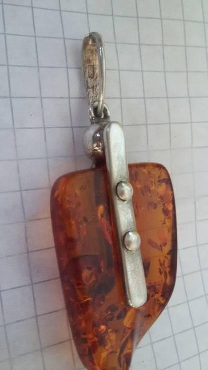 Кулон  серебро + янтарь, фото №5