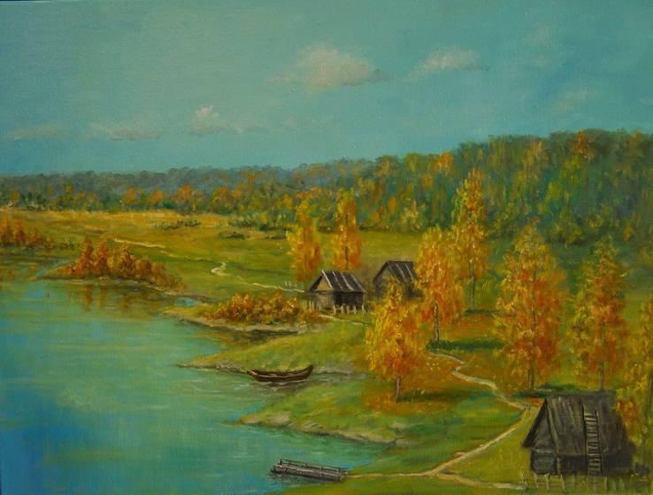 Холст,Масло. '' Осень. '' 30 * 40 см.