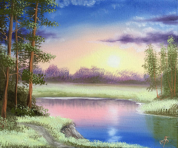 Картина Вечер у реки, 25х30 см. живопись на холсте, оригинал, с подписью