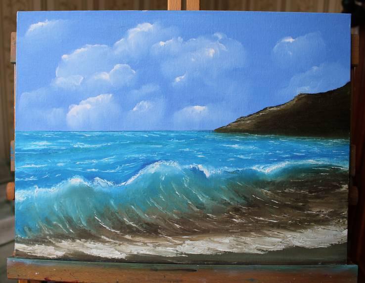 """Картина """"Море волнуется"""", холст, масло, 30*40. Ручная работа."""