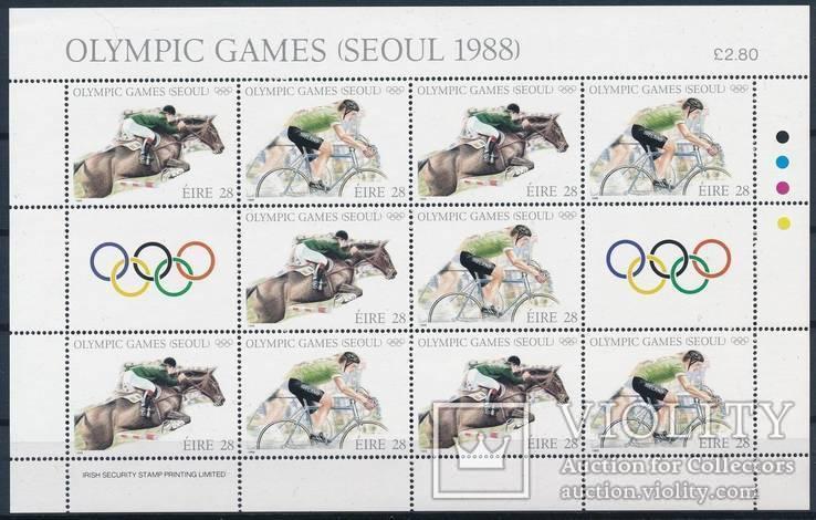 Ирландия 1988 Mi.645/46 кони лошади Сеул Олимпиада м/лист MNH **