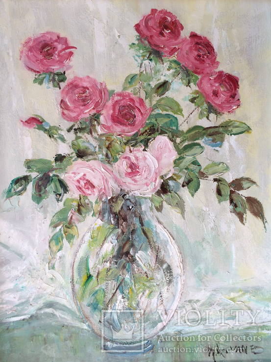 """Авторская Картина """" Розы в Вазе """". Холст, Масло в родной Раме."""