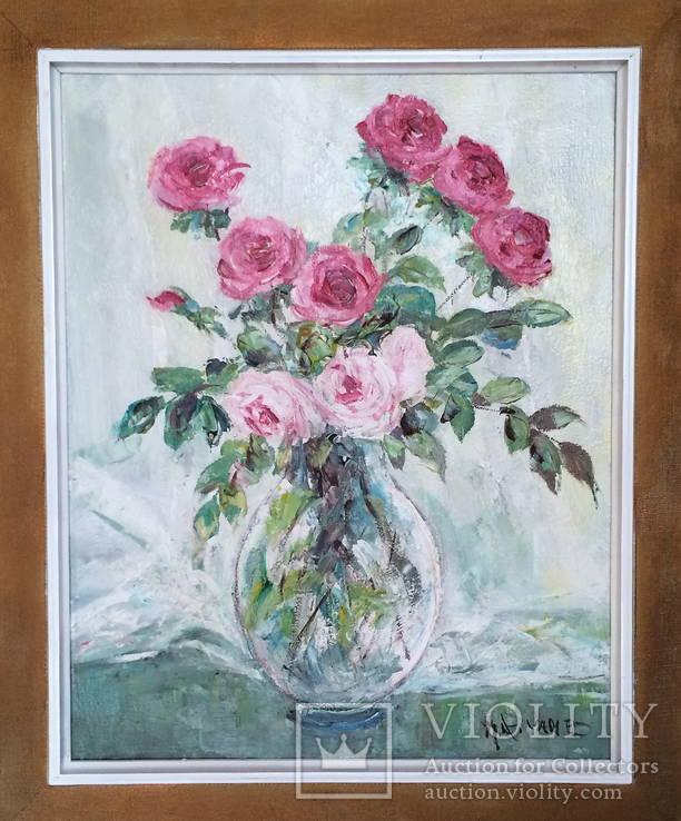 """Авторская Картина """" Розы в Вазе """". Холст, Масло в родной Раме., фото №4"""