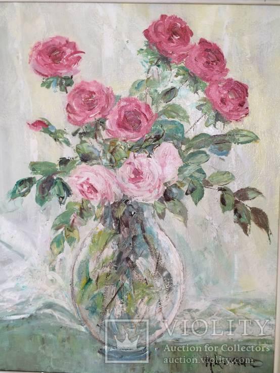"""Авторская Картина """" Розы в Вазе """". Холст, Масло в родной Раме., фото №5"""