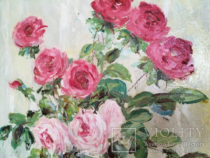 """Авторская Картина """" Розы в Вазе """". Холст, Масло в родной Раме., фото №7"""