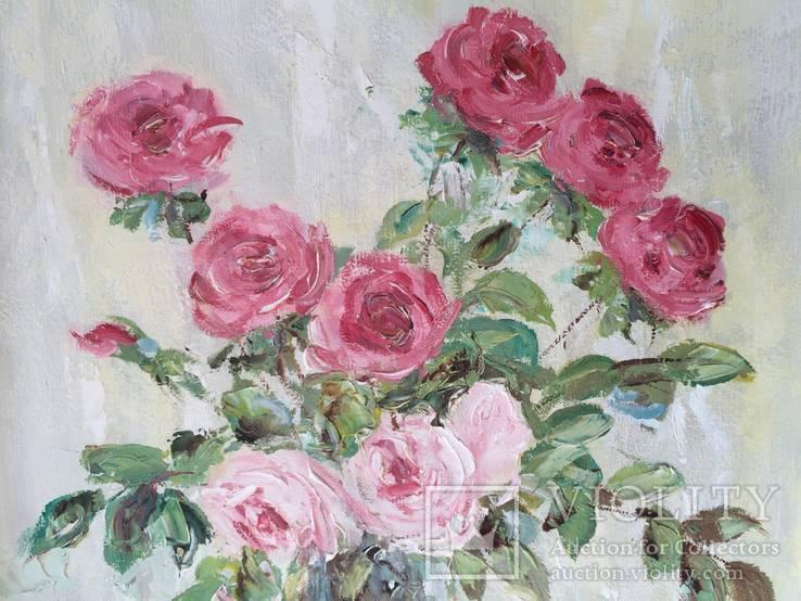 """Авторская Картина """" Розы в Вазе """". Холст, Масло в родной Раме., фото №8"""