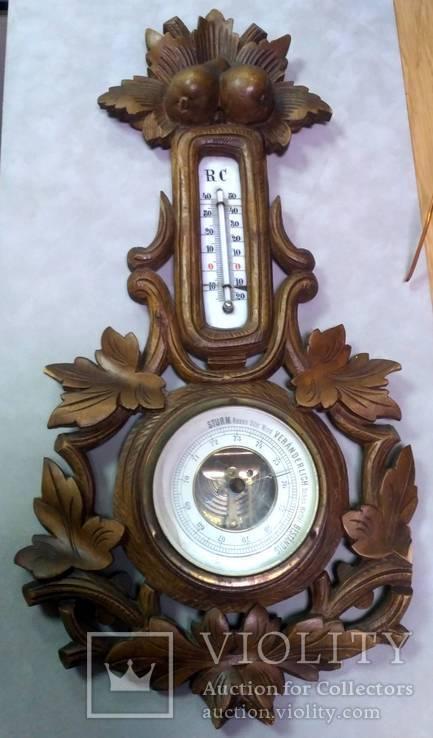 Старинный барометр с термометром, фото №2