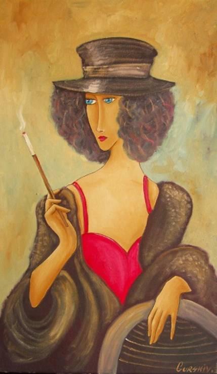 Холст,Масло. '' Дама курит. 2 .'' 30 * 50 см.