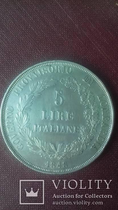 5 лір 1848 р. Італія. М. Lombardy-Venice. Ломбардія-Венеція