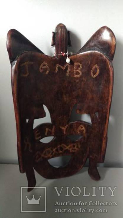 Маска Jambo  из дерева кротон Кения, фото №3